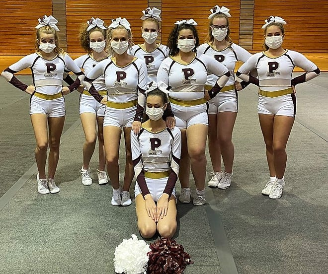 The Portsmouth High School cheer team won last month's 603 Showdown, a virtual event hosted by Londonderry High School. Members of the team include (front) Isabel Wohlert, (back, from left) Charley Sargent, Ashley Hamlet, Jadyn Noury, Maddy White, Mariah Cherry, Abby Blethroade, and Charlotte Leatherman. The team was coached by Sam Freni and Whitney Corcoran.