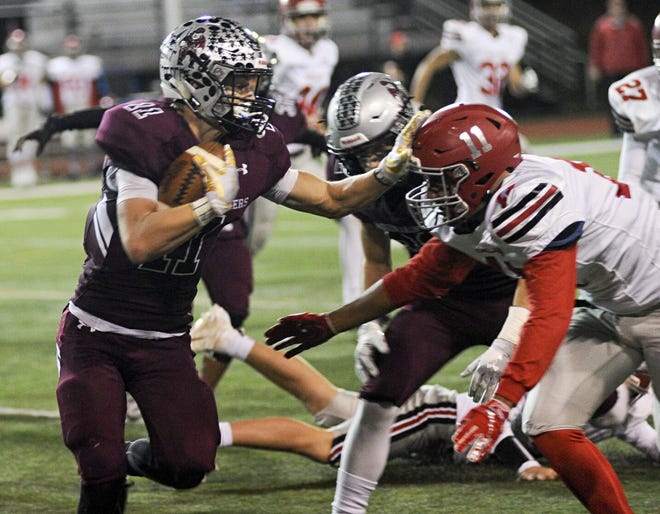 In this 2018 photo, Stroudsburg's Benny Pembleton, left, gives Parkland's Yorick Kumar while returning a kickoff. The Mounties face Parkland on Friday in the District 11 Class 6A football quarterfinals.