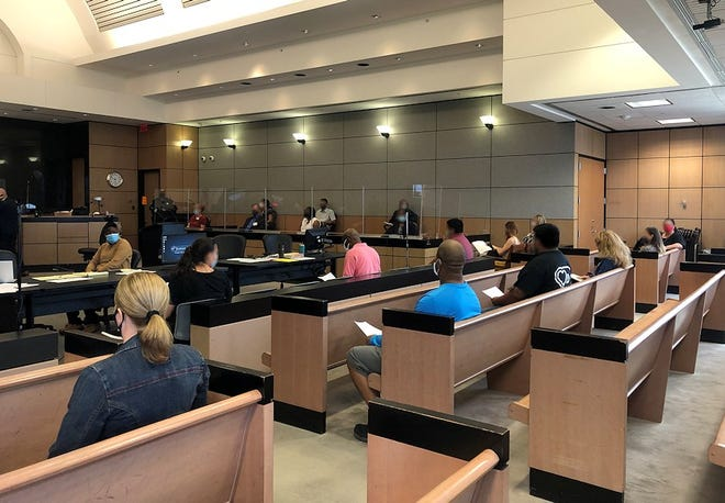 Potential jurors sit in a courtroom in the Palm Beach County courthouse Wednesday. The pool of 24 was reduced to seven jurors, including one alternate, for the county's first criminal trial since March.