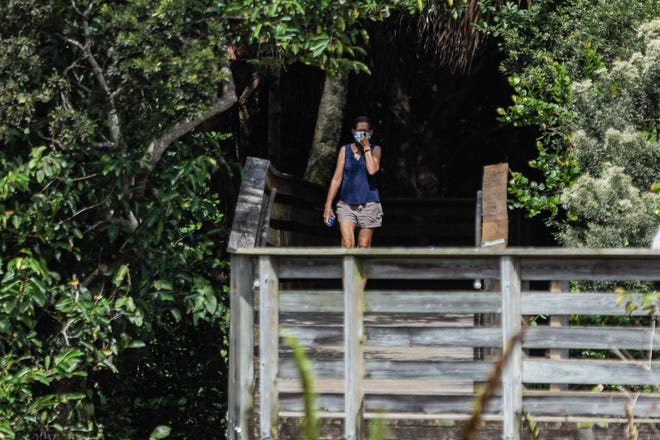 A woman puts her mask back on as she walks out from under the tropical hardwood hammock along the 1-mile boardwalk loop at Green Cay Nature Center and Wetlands in Boynton Beach, Thursday. The boardwalk is one direction only for social distancing.