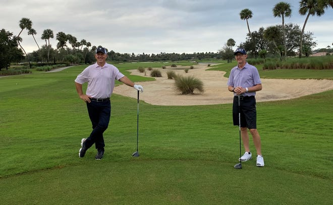 BallenIsles Country Club Director of Golf Jeff Fitzherbert (left) and General Manager Ryan Walls played a combined 250 holes of golf Monday as part of the 5th Annual 100-Hole Challenge to support First Tee of the Palm Beaches.