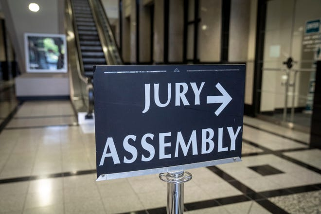 Jury assembly sign at the Palm Beach County Courthouse in West Palm Beach, Florida on November 4, 2020. [GREG LOVETT/The Palm Beach Post]
