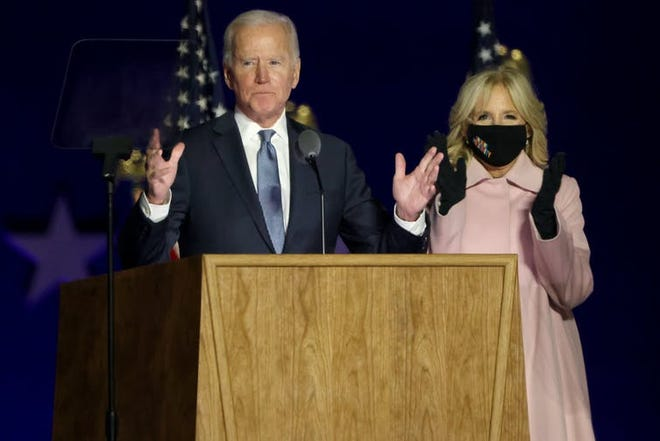 Joe Biden projected confidence but urged patience in a speech late on election night in Wilmington, Del.