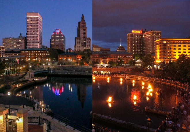 Waterplace Park, Providence when WaterFire is on, at right, and when it's canceled. [Providence Journal Photo illustration from photos by David DelPoio and Sandor Bodo]