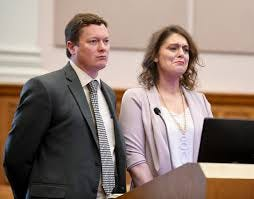 Kristy Williams, former human resources director at the Stark Area Regional Transit Authority, with defense attorney Stephen Kandel (left) is sentenced in May in Stark County Common Pleas Court in Canton. Investigators say Williams stole more than $400,000 from the agency over several years. Williams was indicted earlier this month in Cuyahoga County on theft and fraud charges tied to when she worked at Hy-Tech Controls in Oakwood.
