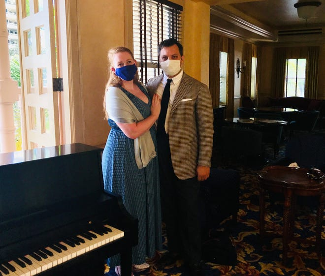 Caitlin Crabill and her husband Samuel Schlievert are among the seven singers performing a concert of favorite opera selections at the Sarasota Opera House.