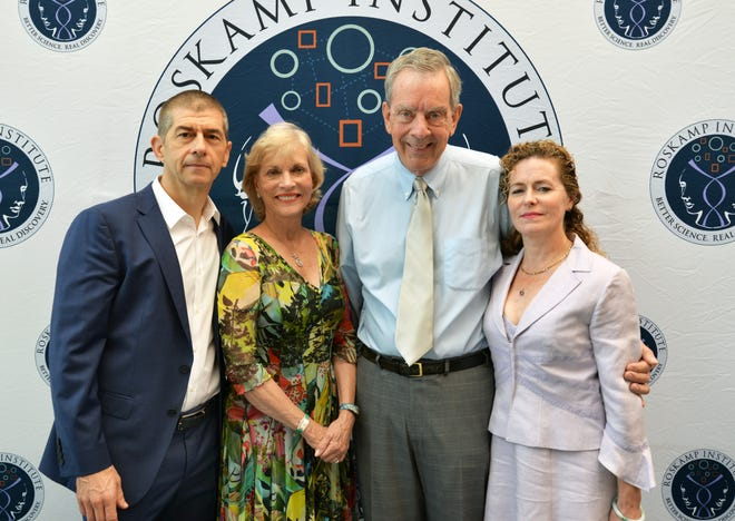 Dr. Mike Mullan, Diane and Bob Roskamp and Dr. Fiona Crawford of the Roskamp Institute. Mullan and Crawford were among the first to discover that amyloid could be a cause of Alzheimer's.