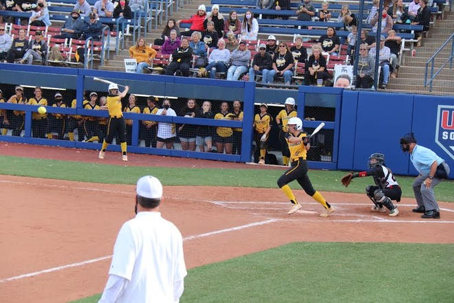 Tecumseh's Harley Sturm hits a single during the recent Class 4A State Fastpitch Softball Tournament.
