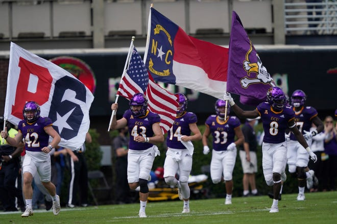East Carolina takes the field against Central Florida in Greenville on Sept. 26. (AP Photo/Gerry Broome)