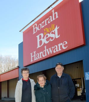 John and Marueen Noblet, owners of Bozrah Home and Hardware, and Janice Morgenstein, office manager, left, will be closing their Salem Turnpike business later this month. [John Shishmanian/ NorwichBulletin.com]