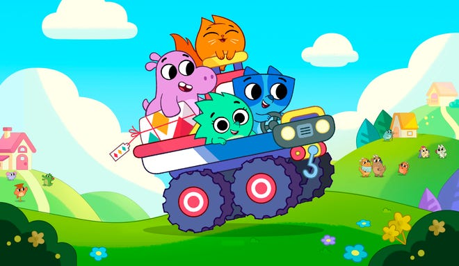 "Clockwise from left, Tibor the hippo, Hazel the cat, Axel the raccoon and Suki the hedgehog appear in ""Pikwik Pack."""