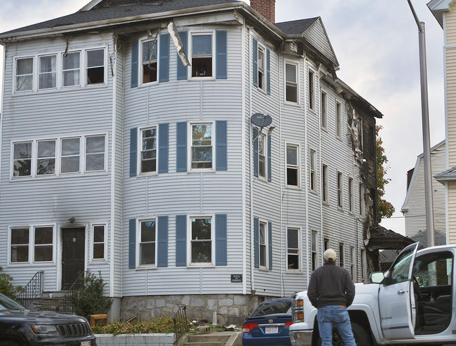 The three-decker at 16 Cargill Ave. in Worcester that was damaged by fire Sunday.