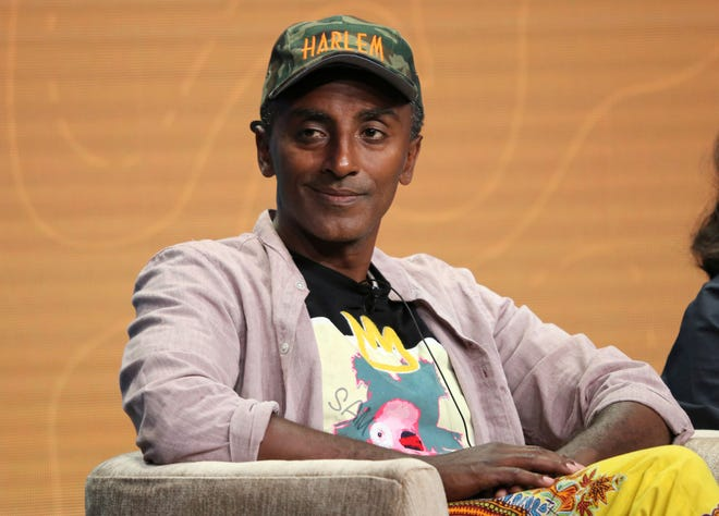 """Host/chef Marcus Samuelsson participates in PBS's """"No Passport Required"""" and """"South By Somewhere"""" panel at the Television Critics Association Summer Press Tour in Beverly Hills, Calif. on July 30, 2019. Samuelsson is hoping to educate Americans and champion Black chefs in """"The Rise: Black Cooks and the Soul of American Food"""" from Little, Brown and Company's Voracious imprint."""