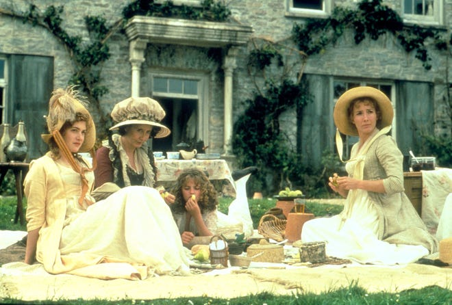 "On the set of the film ""Sense and Sensibility"", in Great Britain in 1995."