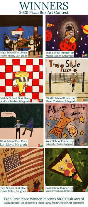 """Michael Wise, director of ARTSNCT in Newcomerstown, announced the winners of the """"Pizza Box Art Contest."""" First place winners were Haley Mizer, High School; Addison Beaber, Middle School; Lori Mayo, West Elementary; and Olivia Miller, East Elementary. Wise thanked all of the participants and the project sponsors: Damon's, Domino's, and Terry's Pizza. ARTSNCT serves the tri-county area and Wise said he hopes to open the contest up to students in the Ridgewood schools next year."""