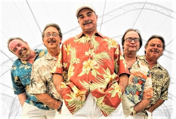 Mike Hough, center, with his Dr. Fine bandmates. A first-rate guitarist and vocalist with a deep knowledge of music history, Mike is making his second appearance in Pomp it Up.