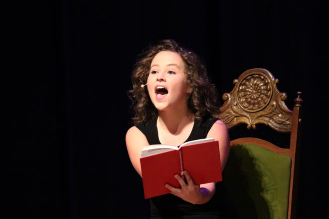 """Dublin Jerome High School senior Maeve Gallagher, 17, performs the role of Adelaide from """"Guys and Dolls"""" for the """"15 Years of Jerome Theatre Cabaret,"""" which was held Oct. 23 and 24."""