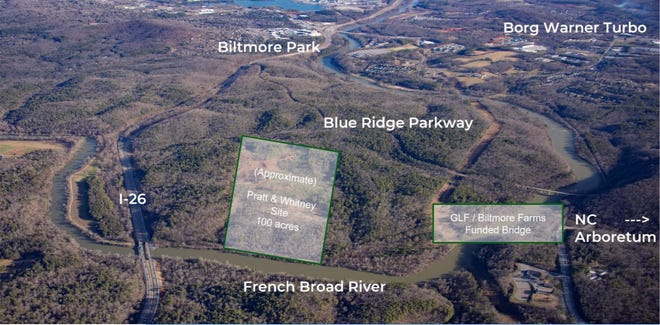 An aerial view of the site for planned Pratt and Whitney aircraft engine manufacturer
