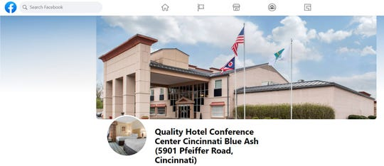 Facebook page for the Quality Hotel Conference Center at 5901 Pfeiffer Road in Blue Ash.