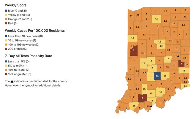A color-coded map from the ISDH dashboard shows the distribution by county of COVID-19 cases.