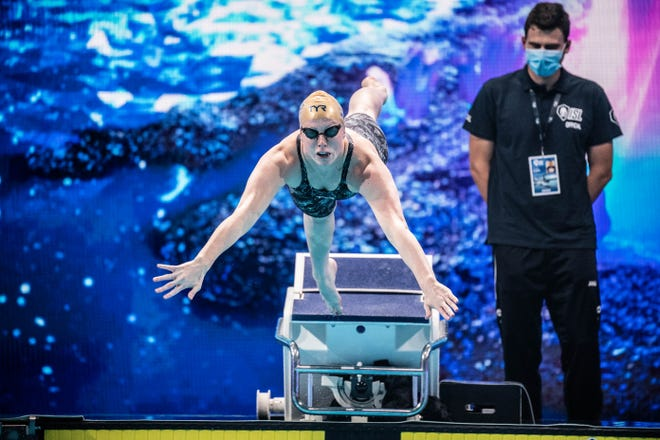 Evansville native and Olympic gold medalist Lilly King is competing for the Cali Condors in the International Swimming League bubble in Budapest.