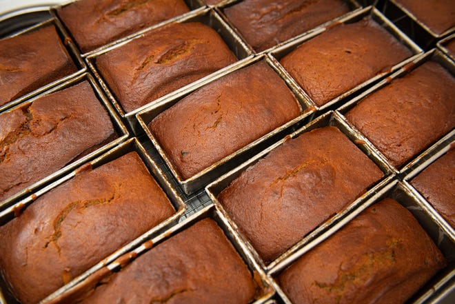 Freshly baked banana bread by Banana Manna.