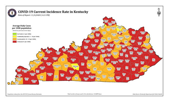 This color-coded map from the Kentucky Department for Public Health shows the current COVID-19 incidence rate in the state as of 4:21 p.m. on Wednesday, Nov. 4.