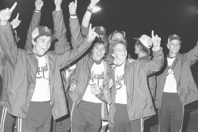 Denny Farner (left) celebrates with his Lafayette All-Star teammates after winning the 1977 Colt World Series at Loeb Stadium. Farner was the winning pitcher and squeezed home the winning run in the bottom of the eighth inning. Farner, 58, recently passed away in Spring Hill, Tennessee