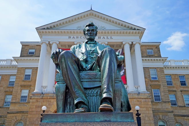 "Steven K. Rogstad's ""Lincoln Among the Badgers"" tells the stories of Wisconsin's many monuments and memorials to the president, including the statue outside Bascom Hall on the University of Wisconsin-Madison campus in Madison."