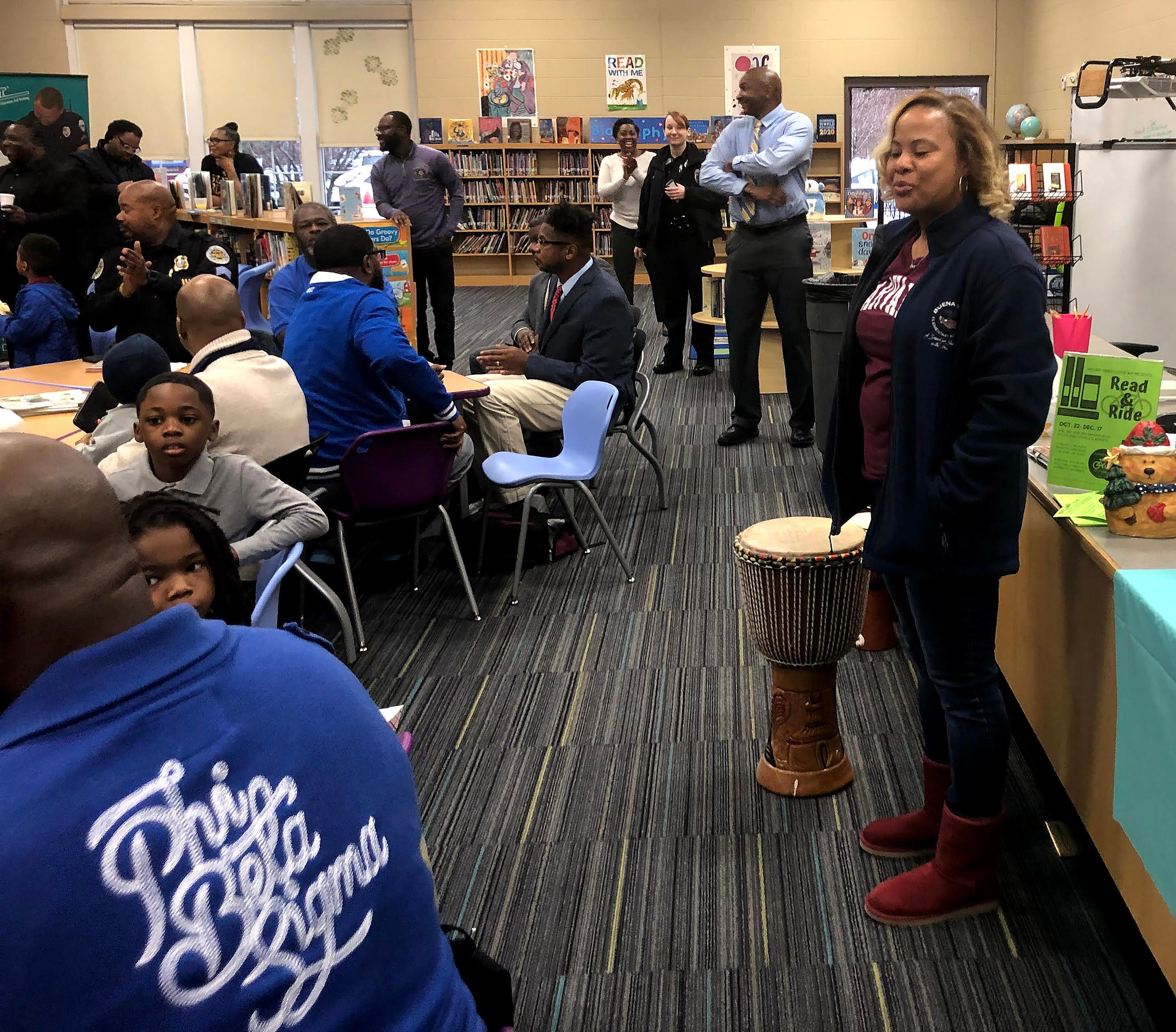 """Myra Taylor, Buena Vista Elementary School principal, says Fatherhood Fridays gives students """"a lot of one-on-one time with someone who looks like them and they can model that behavior."""""""