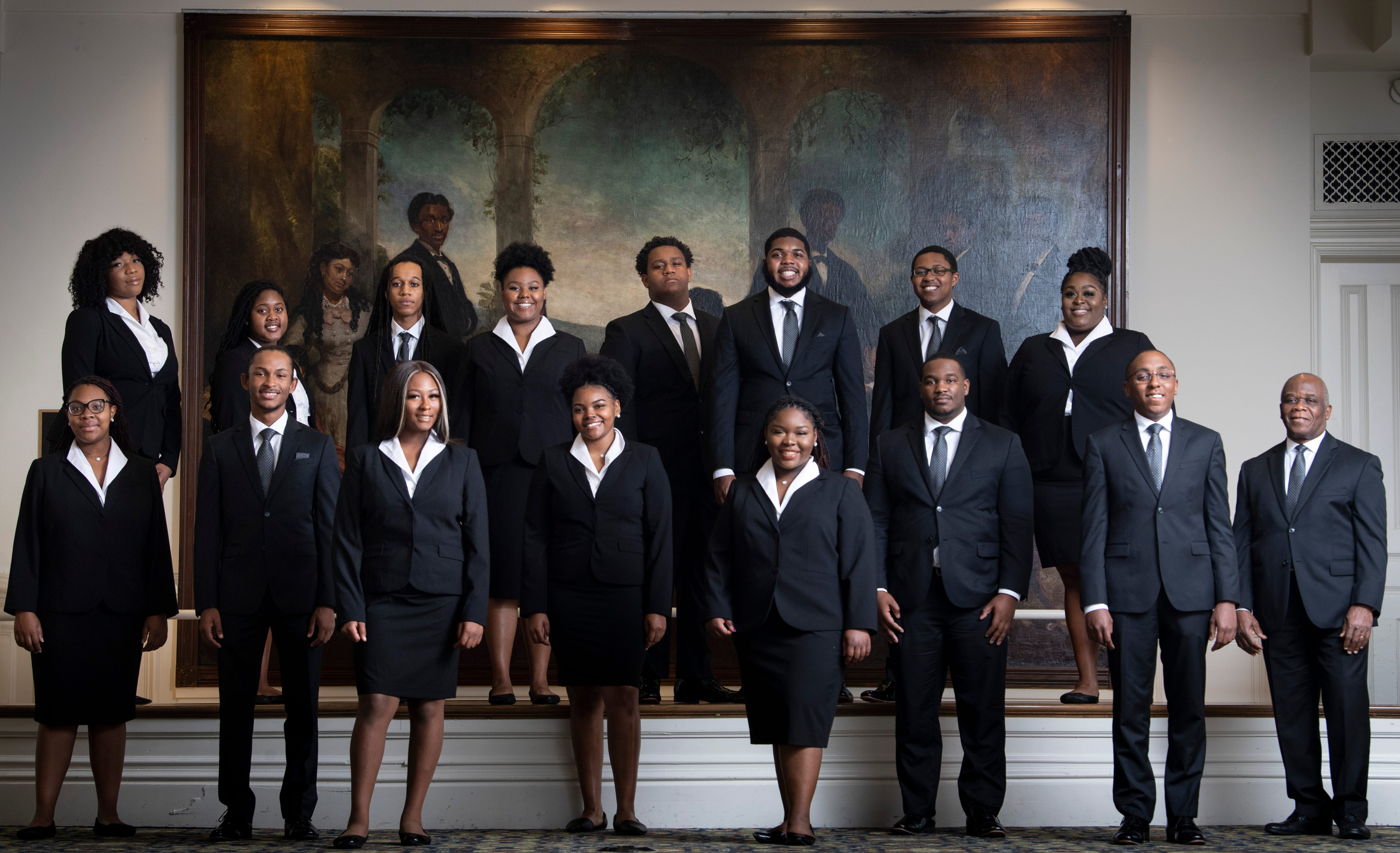 """The Fisk Jubilee Singers pose for a portrait Thursday, Oct. 29, 2020, in Nashville, Tenn. The Fisk Jubilee Singers are vocal artists and students at Fisk University who sing and travel worldwide. The original Fisk Jubilee Singers introduced """"slave songs"""" to the world in 1871 and were instrumental in preserving the unique American musical tradition of Negro spirituals."""