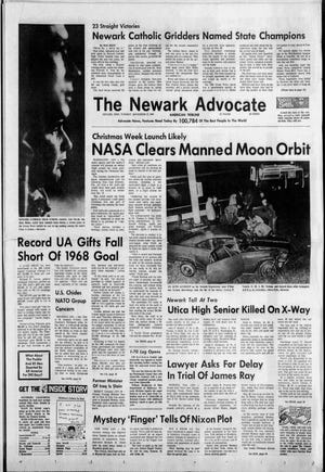 The front page of the Nov. 12, 1968 Newark Advocate, celebrating Newark Catholic's state football title.