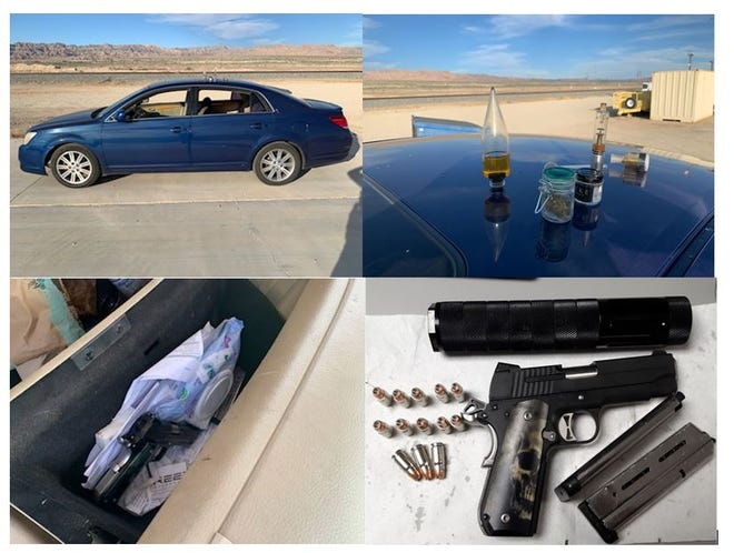 These photos show a vehicle, gun and drug paraphernalia confiscated Monday, Nov. 2, 2020 at a Highway 111 checkpoint.