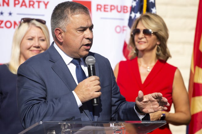 David Bossie speaks during a press conference on Nov. 5, 2020, at Arizona Republican Party headquarters in Phoenix.