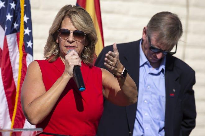 Arizona Republican Party Chairwoman Kelli Ward during a press conference on Nov. 5, 2020, at Arizona Republican Party headquarters in Phoenix.