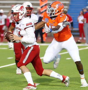 San Angelo Central High School defensive end Monte'Vious Dobbins had a team-high eight tackles and four quarterback hurries in a 38-7 District 2-6A win against Odessa High at San Angelo Stadium on Friday, Oct. 30, 2020.