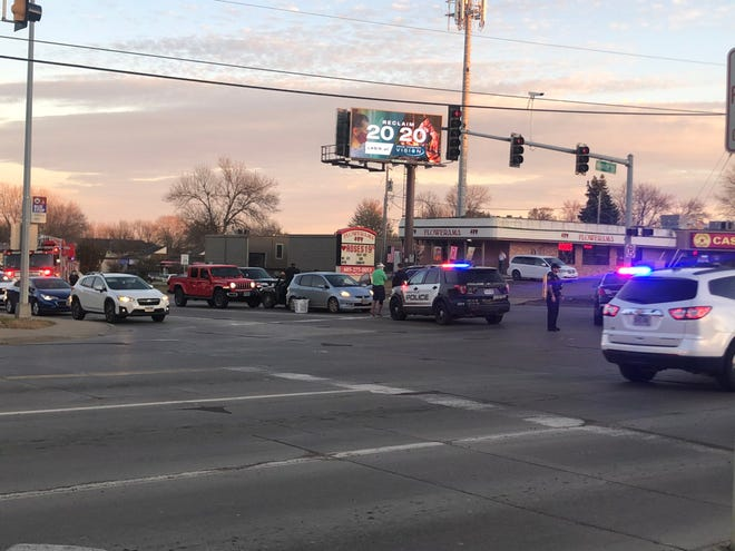 Multiple-vehicle accident near the intersection of West 41st Street and South Marion Road.