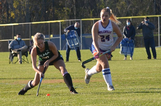 Our Lady of Mercy senior Adrianna Dodge, left, passes to a teammate against Millville.