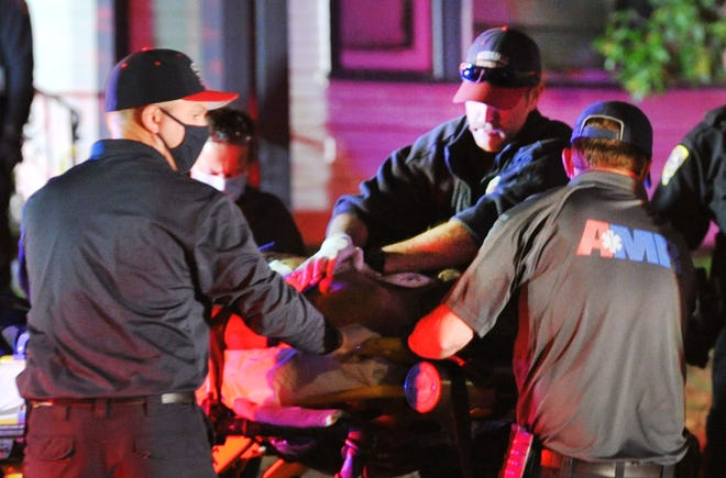 Wichita Falls first responders work to transport a shooting victim to the hospital on the night of Nov. 4, 2020, as shown in this file photo.