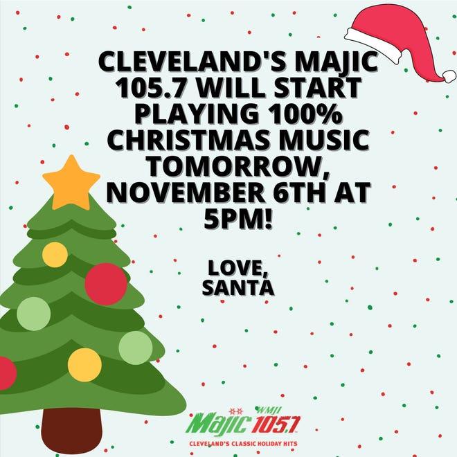 Cleveland radio station 105.7 FM to play Christmas music.