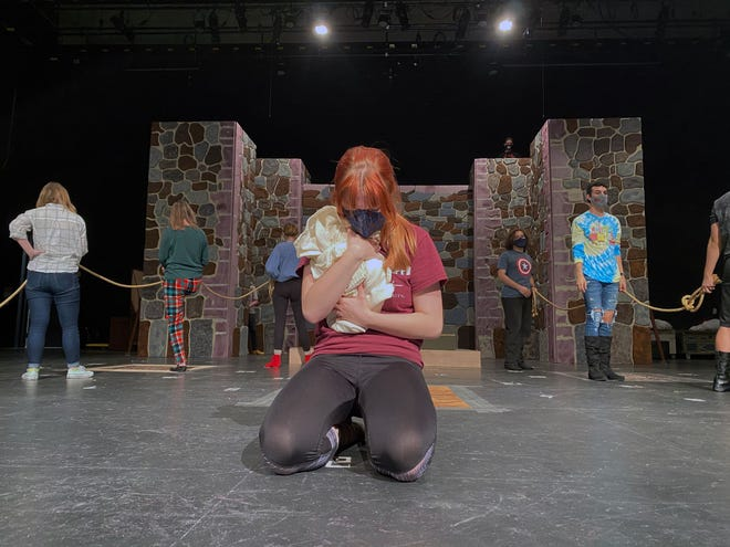 "Cast members of ""The Caucasian Chalk Circle"" rehearse for their livestream production, which will be hosted at 7:30 p.m. Thursday and Friday."