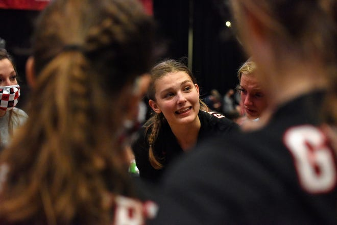 Even though her team had just lost in the 4A semifinals at the state volleyball tournament Wednesday Gilbert outside hitter Thea Rotto couldn't help but smile in the team huddle after the match against West Delaware. The senior has great love and passion for the game and was extremely grateful for the run the Tigers had in 2020.