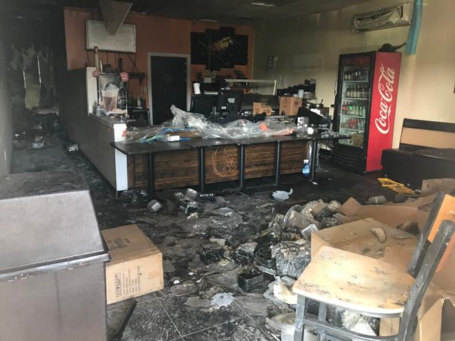 Sushi To Go in Marlton, Friday morning, post fire.