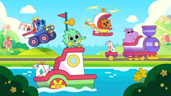 "The new series ""Pikwik Pack"" features, from left, Axel the raccoon, Suki the hedgehog, Hazel the cat and Tibor the hippo on Disney Junior and in DisneyNOW."