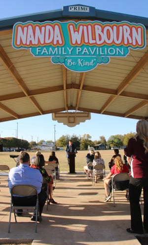 Joey Wilbourn speaks at during the dedication of the Nanda Wilbourn Family Pavilion at Mayes Park Thursday afternoon.