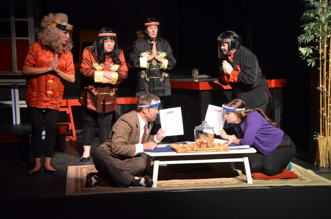 "The final performance of ""Get Smart — COVID Edition"" will be at 2:30 p.m. Sunday at Brownwood's Lyric Theatre. In this scene from the comedy based on the 1960s television show, Maxwell Smart (played by Ryan Bailey), seated left, confers with Agent 99 (played by Cassia Rose) on strategy while enemy operatives listen in. Pictured in the background, from left to right, are Alisa Hinton, Holli Blanton, Cayla Furry, and Patti Kilpatrick. Ticket availability and other information can be found online at www.brownwoodlyrictheatre.com."
