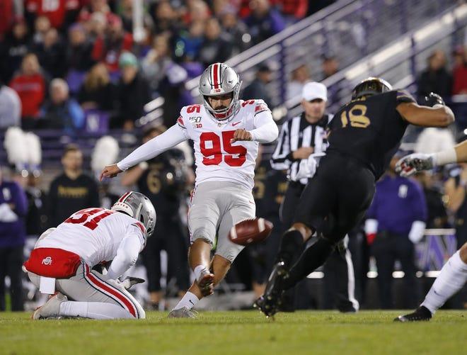 Ohio State's Blake Haubeil, kicking a field goal against Northwestern last season, will not play against Rutgers on Saturday.