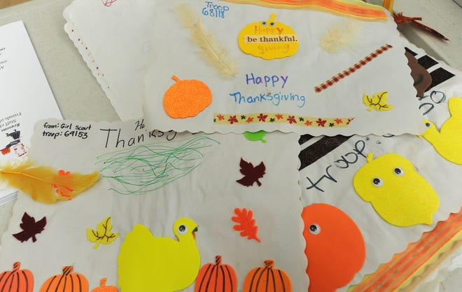 Handmade placemats by local Girl Scout troops for a past Thanksgiving at the Barnstable Senior Center.
