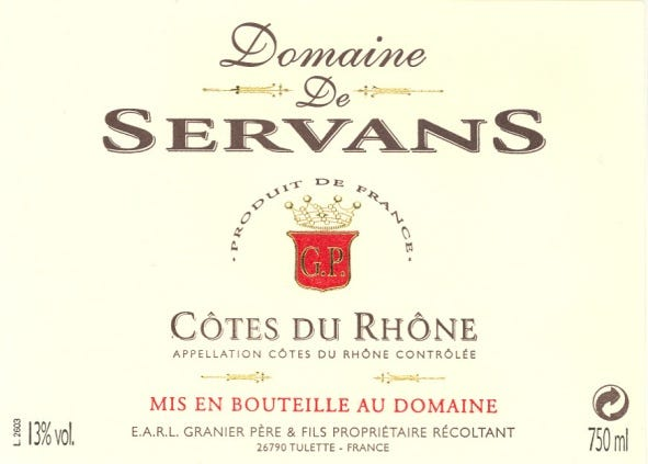 2019 Cotes du Rhone red from Domaine de Servans