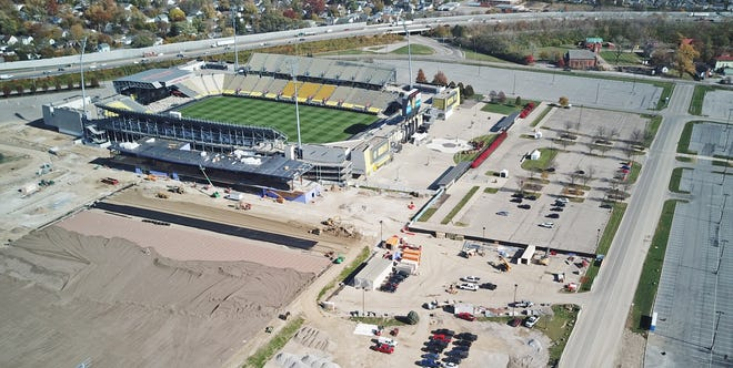 The area west of Mapfre Stadium is being expanded to include the OhioHealth Performance Center, which will be the new training facility for the Columbus Crew SC. Interstate 71 is at the top.